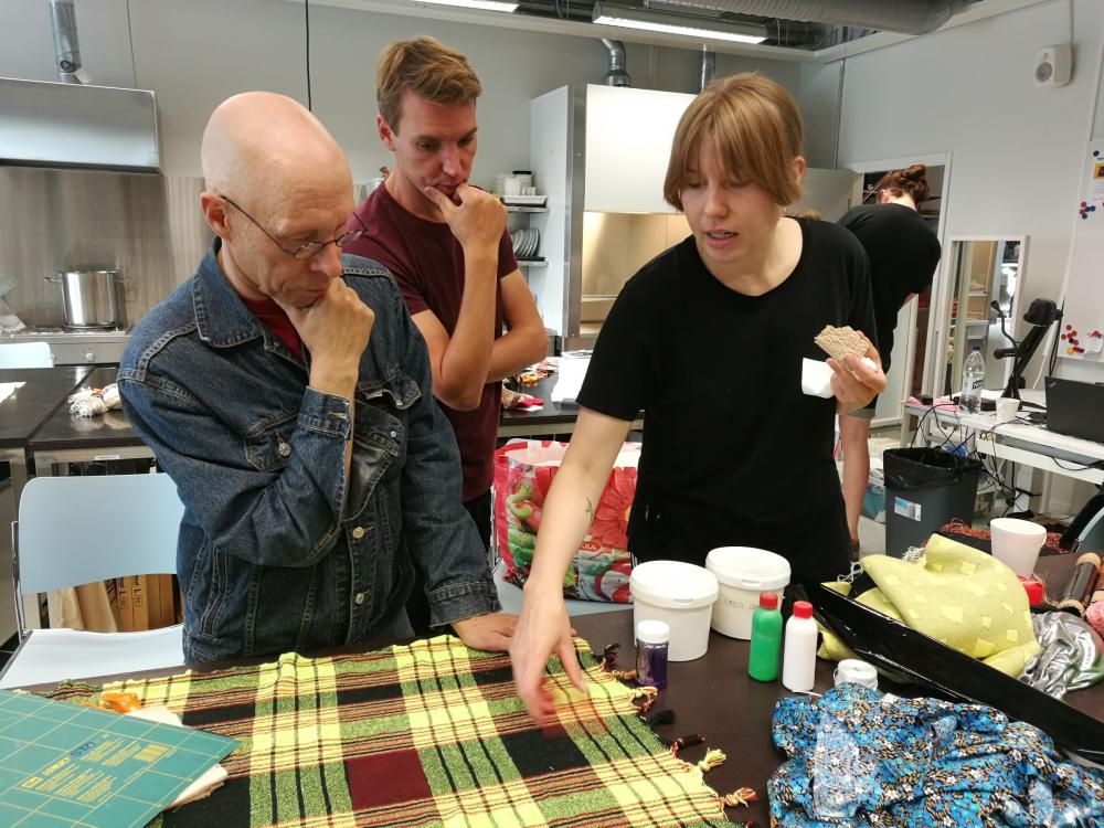 Planning details for the fabric at the Maunula Collection design workshop