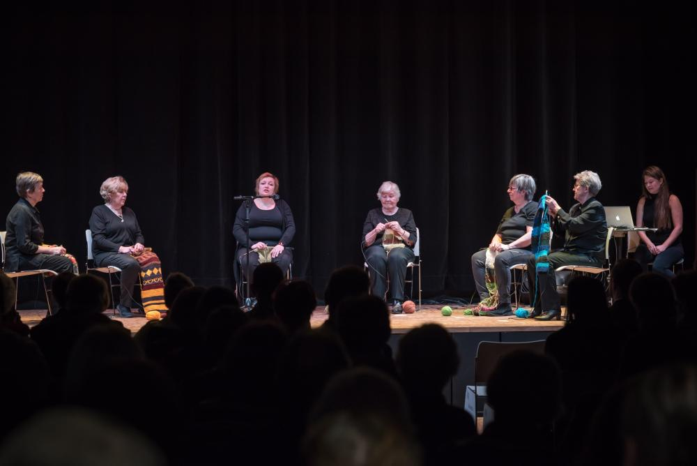 Sounds and Stories Live Performance with knitters and Ilona Korhonen singing