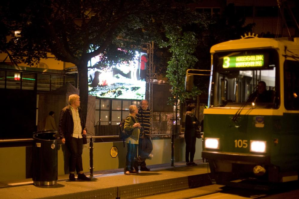 Nordic Outbreak screen in Kallio with tram