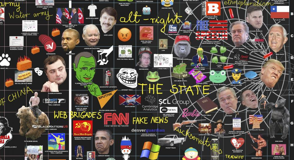 Online culture wars detail of map with memes