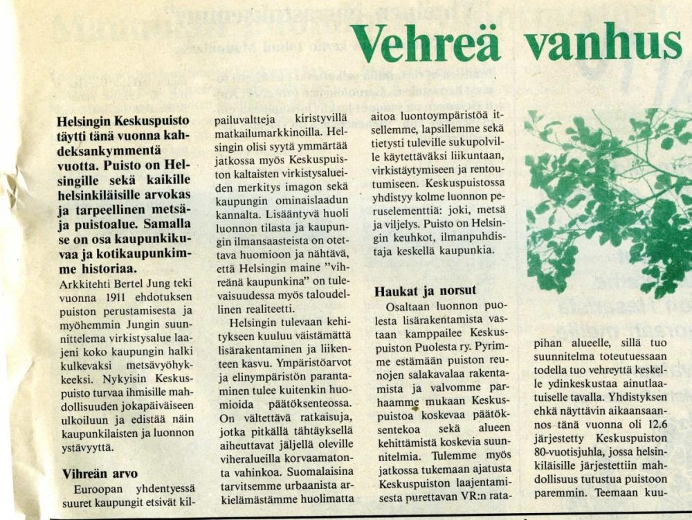 Maunulan Sanomat newspaper clipping 1992